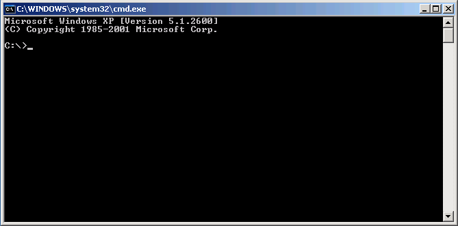 Command window cmd.exe for make procedure